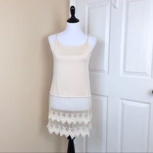 Other - Beige long cami with lace trim